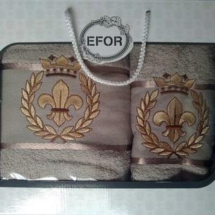 Подарочный набор полотенец для ванной 50х90, 70х140 Efor хлопковая махра герб v2 бежевый
