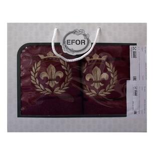 Подарочный набор полотенец для ванной 50х90, 70х140 Efor хлопковая махра герб v2 бордовый