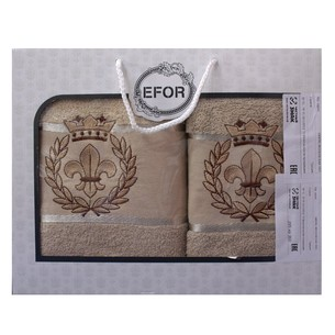Подарочный набор полотенец для ванной 50х90, 70х140 Efor хлопковая махра герб v2 капучино