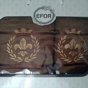 Подарочный набор полотенец для ванной 50х90, 70х140 Efor хлопковая махра герб v2 кофейный