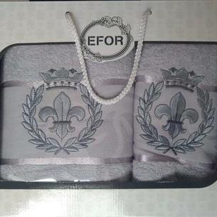 Подарочный набор полотенец для ванной 50х90, 70х140 Efor хлопковая махра герб v2 светло-серый