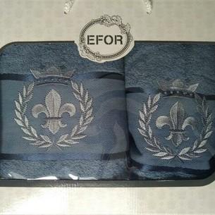 Подарочный набор полотенец для ванной 50х90, 70х140 Efor хлопковая махра герб v2 синий