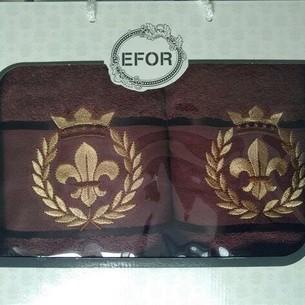 Подарочный набор полотенец для ванной 50х90, 70х140 Efor хлопковая махра герб v2 темно-кофейный