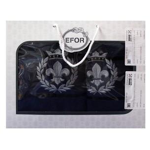 Подарочный набор полотенец для ванной 50х90, 70х140 Efor хлопковая махра герб v2 темно-синий