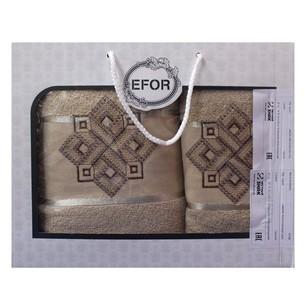 Подарочный набор полотенец для ванной 50х90, 70х140 Efor хлопковая махра герб v4 бежевый