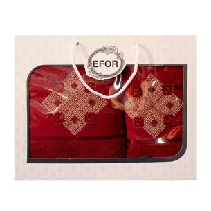 Подарочный набор полотенец для ванной 50х90, 70х140 Efor хлопковая махра герб v4 бордовый
