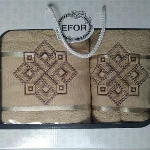 Подарочный набор полотенец для ванной 50х90, 70х140 Efor хлопковая махра герб v4 капучино