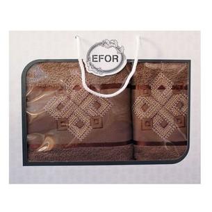 Подарочный набор полотенец для ванной 50х90, 70х140 Efor хлопковая махра герб v4 кофейный