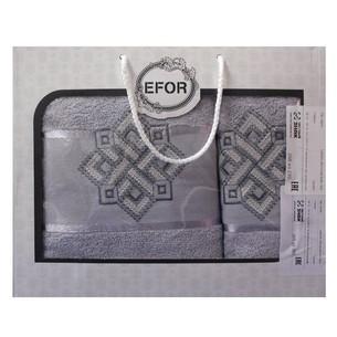 Подарочный набор полотенец для ванной 50х90, 70х140 Efor хлопковая махра герб v4 светло-серый