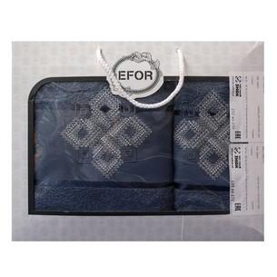 Подарочный набор полотенец для ванной 50х90, 70х140 Efor хлопковая махра герб v4 синий