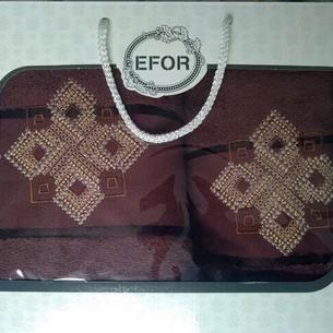 Подарочный набор полотенец для ванной 50х90, 70х140 Efor хлопковая махра герб v4 темно-кофейный