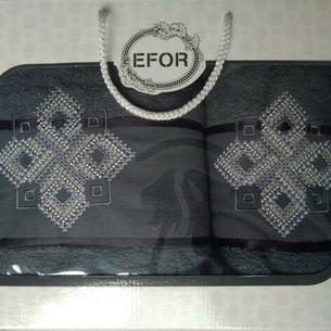 Подарочный набор полотенец для ванной 50х90, 70х140 Efor хлопковая махра герб v4 темно-серый
