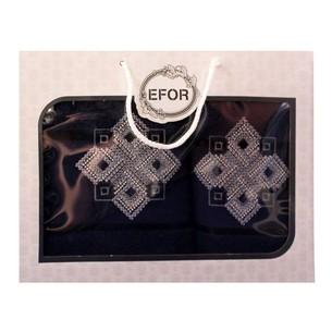 Подарочный набор полотенец для ванной 50х90, 70х140 Efor хлопковая махра герб v4 темно-синий