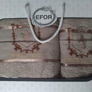 Подарочный набор полотенец для ванной 50х90, 70х140 Efor хлопковая махра герб v5 бежевый