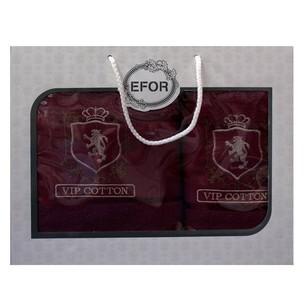 Подарочный набор полотенец для ванной 50х90, 70х140 Efor хлопковая махра герб v5 бордовый
