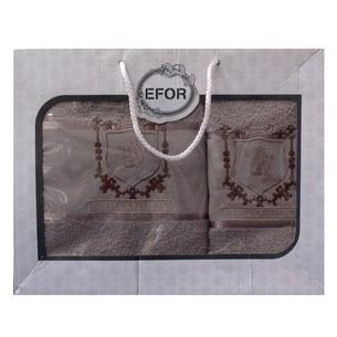 Подарочный набор полотенец для ванной 50х90, 70х140 Efor хлопковая махра герб v5 капучино