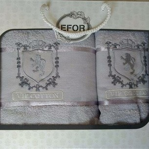 Подарочный набор полотенец для ванной 50х90, 70х140 Efor хлопковая махра герб v5 светло-серый