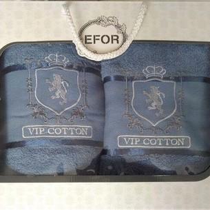 Подарочный набор полотенец для ванной 50х90, 70х140 Efor хлопковая махра герб v5 синий