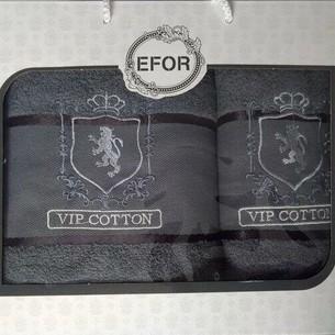 Подарочный набор полотенец для ванной 50х90, 70х140 Efor хлопковая махра герб v5 темно-серый