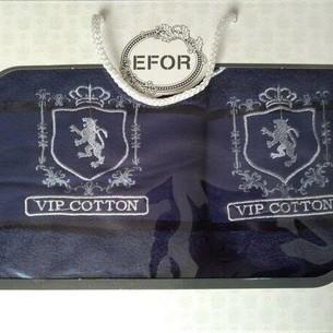 Подарочный набор полотенец для ванной 50х90, 70х140 Efor хлопковая махра герб v5 темно-синий
