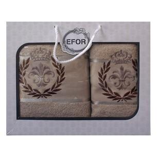Подарочный набор полотенец для ванной 50х90, 70х140 Efor хлопковая махра герб v6 бежевый