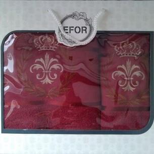 Подарочный набор полотенец для ванной 50х90, 70х140 Efor хлопковая махра герб v6 бордовый