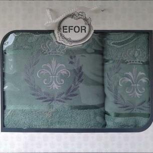 Подарочный набор полотенец для ванной 50х90, 70х140 Efor хлопковая махра герб v6 зеленый