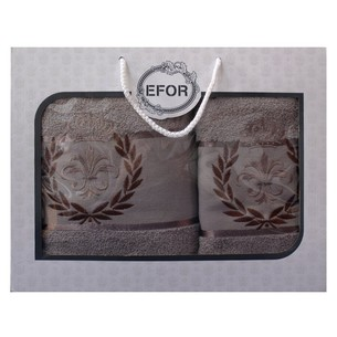 Подарочный набор полотенец для ванной 50х90, 70х140 Efor хлопковая махра герб v6 капучино