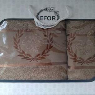 Подарочный набор полотенец для ванной 50х90, 70х140 Efor хлопковая махра герб v6 кофейный