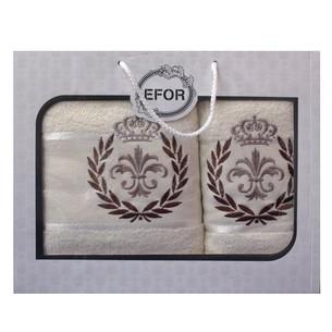 Подарочный набор полотенец для ванной 50х90, 70х140 Efor хлопковая махра герб v6 кремовый