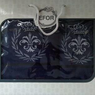 Подарочный набор полотенец для ванной 50х90, 70х140 Efor хлопковая махра герб v6 темно-синий