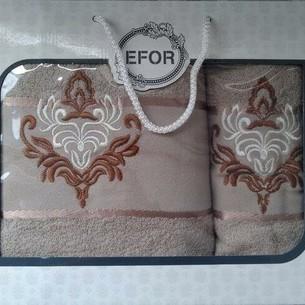 Подарочный набор полотенец для ванной 50х90, 70х140 Efor хлопковая махра герб v7 бежевый