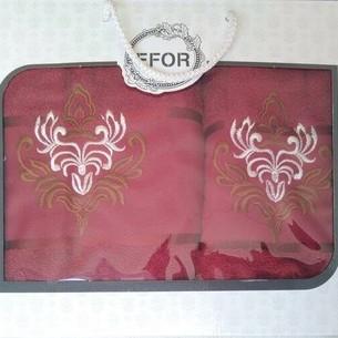 Подарочный набор полотенец для ванной 50х90, 70х140 Efor хлопковая махра герб v7 бордовый