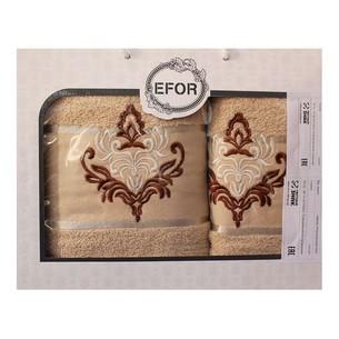 Подарочный набор полотенец для ванной 50х90, 70х140 Efor хлопковая махра герб v7 капучино