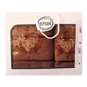 Подарочный набор полотенец для ванной 50х90, 70х140 Efor хлопковая махра герб v7 кофейный