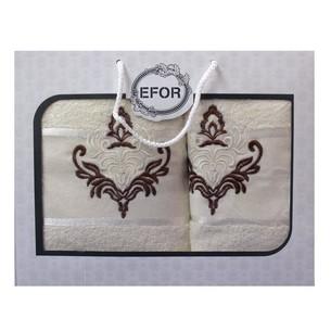 Подарочный набор полотенец для ванной 50х90, 70х140 Efor хлопковая махра герб v7 кремовый