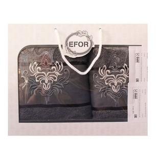 Подарочный набор полотенец для ванной 50х90, 70х140 Efor хлопковая махра герб v7 светло-серый