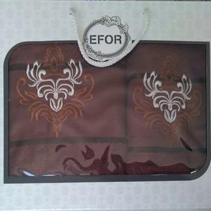 Подарочный набор полотенец для ванной 50х90, 70х140 Efor хлопковая махра герб v7 темно-кофейный