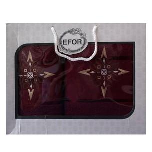 Подарочный набор полотенец для ванной 50х90, 70х140 Efor хлопковая махра герб v8 бордовый