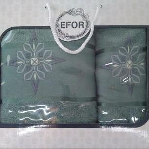 Подарочный набор полотенец для ванной 50х90, 70х140 Efor хлопковая махра герб v8 зеленый