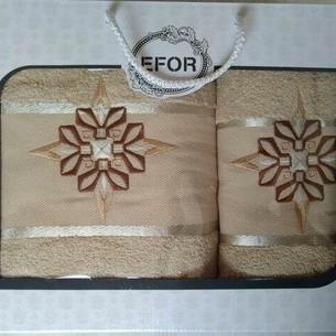 Подарочный набор полотенец для ванной 50х90, 70х140 Efor хлопковая махра герб v8 капучино