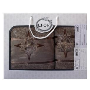 Подарочный набор полотенец для ванной 50х90, 70х140 Efor хлопковая махра герб v8 кофейный