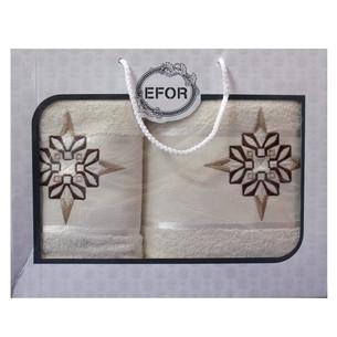 Подарочный набор полотенец для ванной 50х90, 70х140 Efor хлопковая махра герб v8 кремовый