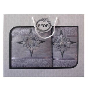 Подарочный набор полотенец для ванной 50х90, 70х140 Efor хлопковая махра герб v8 светло-серый