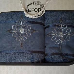 Подарочный набор полотенец для ванной 50х90, 70х140 Efor хлопковая махра герб v8 синий