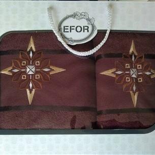Подарочный набор полотенец для ванной 50х90, 70х140 Efor хлопковая махра герб v8 темно-кофейный