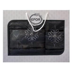 Подарочный набор полотенец для ванной 50х90, 70х140 Efor хлопковая махра герб v8 темно-серый