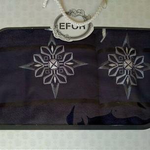 Подарочный набор полотенец для ванной 50х90, 70х140 Efor хлопковая махра герб v8 темно-синий
