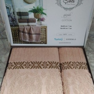 Подарочный набор полотенец для ванной 50х90, 70х140 Sikel GUZIDE хлопковая махра