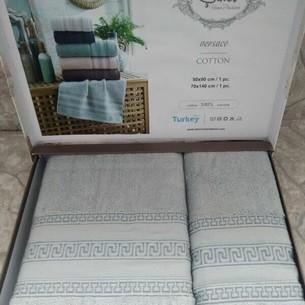 Подарочный набор полотенец для ванной 50х90, 70х140 Sikel VERSACE хлопковая махра